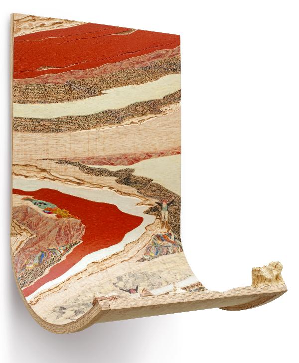 FLOTTER, Ji-Eun Yoon 90 x 59 x 50 cm Crayon de couleur, pyrogravure, acrylique,  placage et sculpture sur bois, 2013