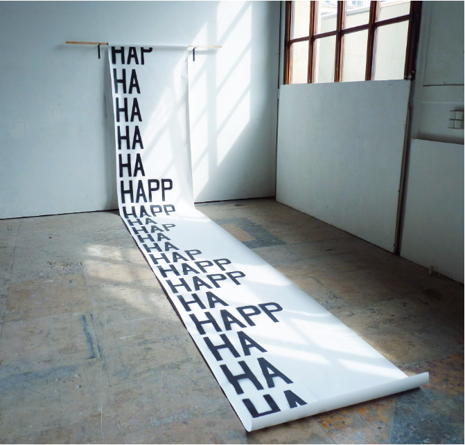HAHAPPY - Benoît Aubard Peinture aérosol, papier, 103 x 1000 cm, 2013.