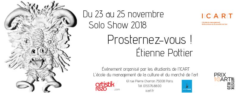 Solo Show d'Étienne Pottier du 23 au 25 novembre